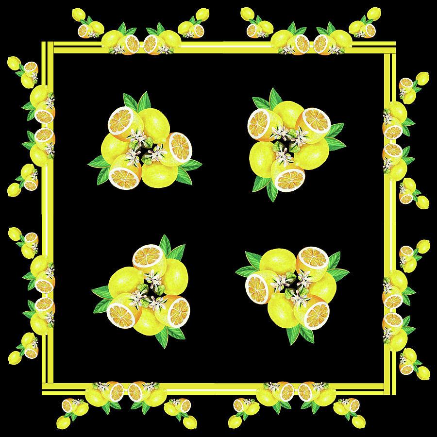 Lemons And Blossoms Decorative Watercolor Vi Painting