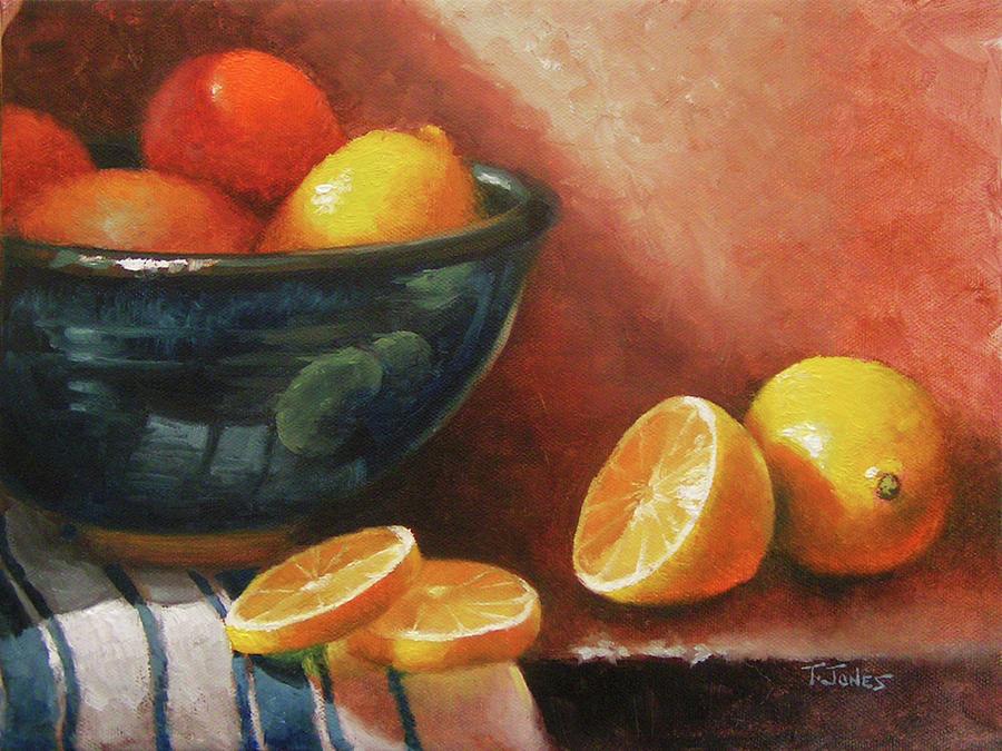 Lemons Painting - Lemons And Ceramic Bowl by Timothy Jones