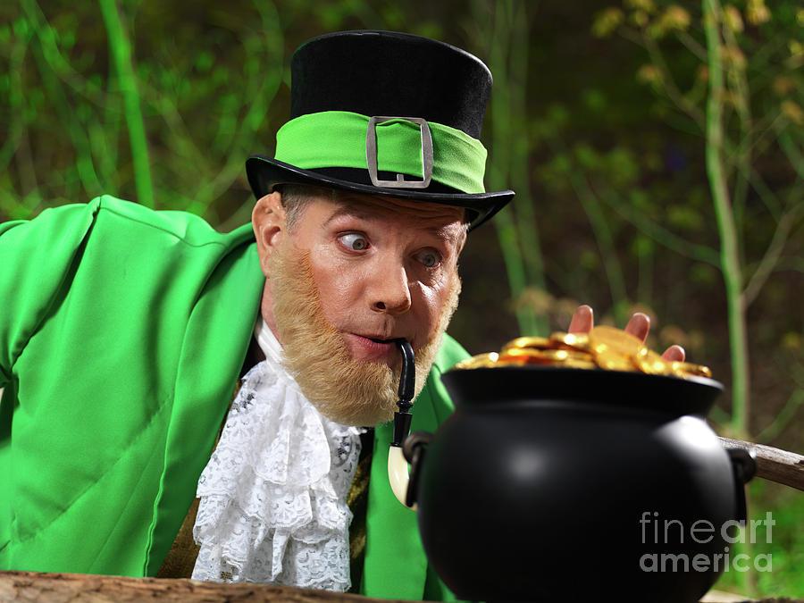 Leprechaun Photograph - Leprechaun With Pot Of Gold by Oleksiy Maksymenko