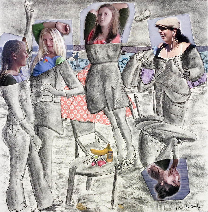 Girls Painting - Les Demoiselles Of Santa Cruz V8 by Susan Cafarelli Burke