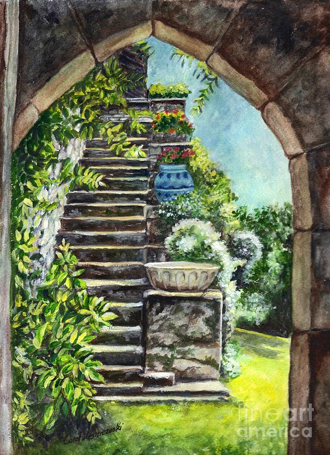Stone Painting - Les Escaliers En Bandouille In Sevres France  by Carol Wisniewski