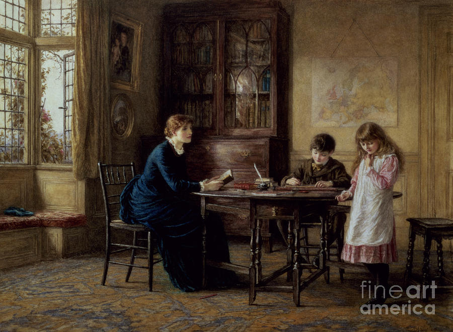 Governess; Inkwell; Quill Pen; Leaded Windows; Schoolroom; Classroom; Teacher; Book Case; Victorian; Lessons Painting - Lessons by Helen Allingham