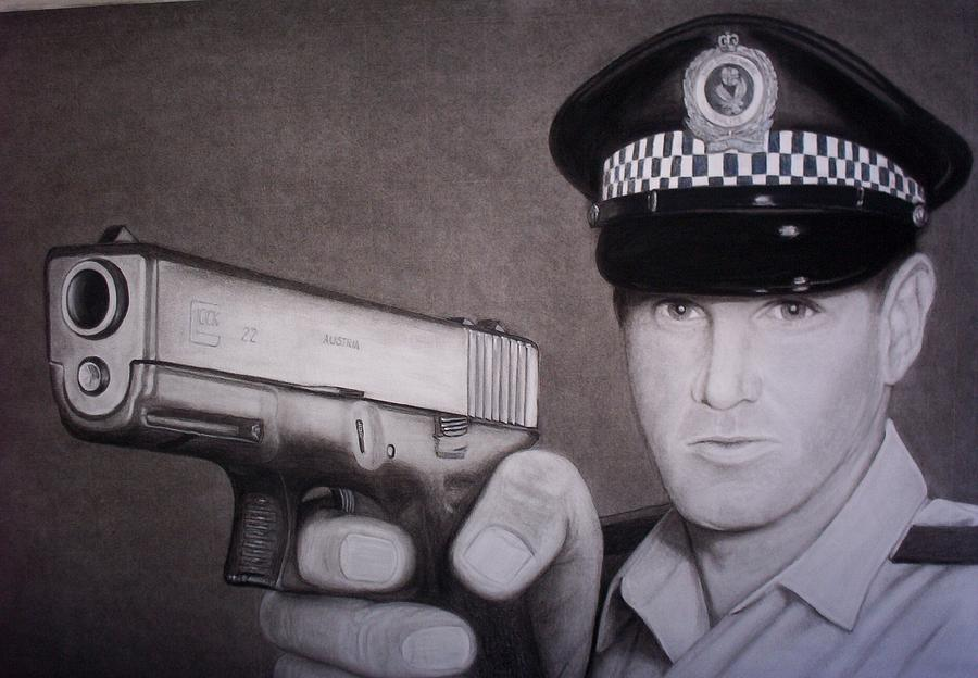 Police Drawing - Lethal Force by Brendan SMITH