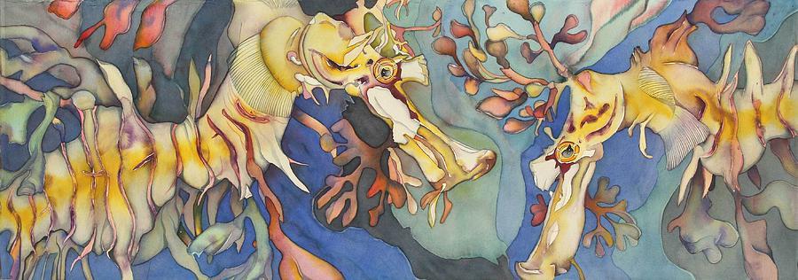 Sealife Painting - Lhippocampe Jaune by Liduine Bekman