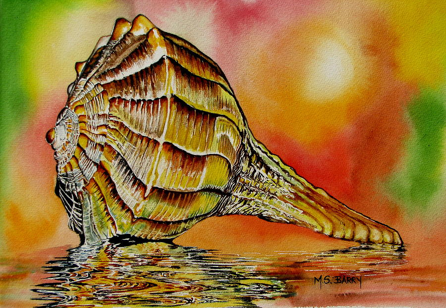 Sea Shell Painting - Life Lines by Maria Barry