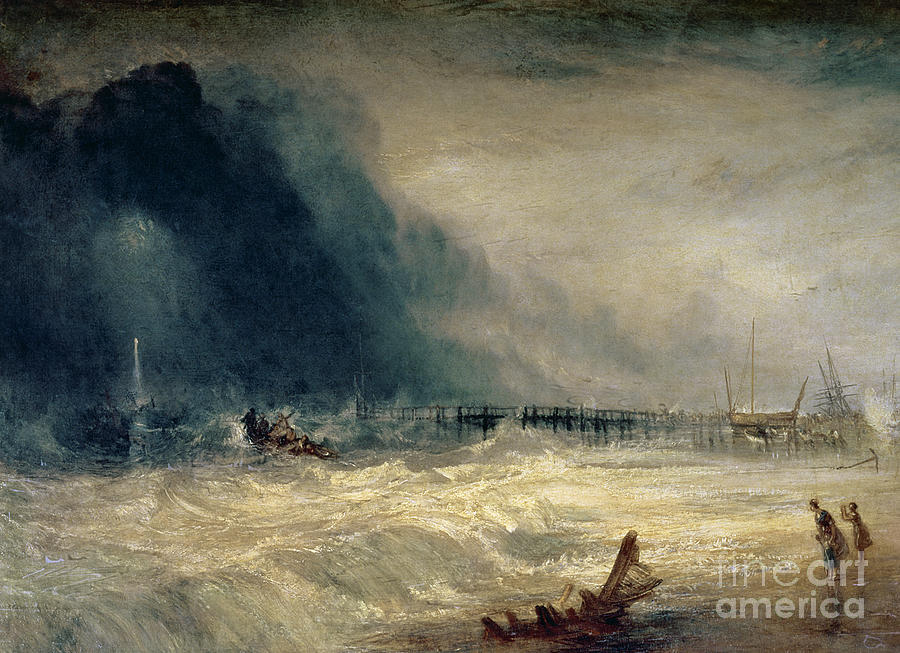 Turner Painting - Lifeboat And Manby Apparatus Going Off To A Stranded Vessel Making Signal Of Distress by Joseph Mallord William Turner