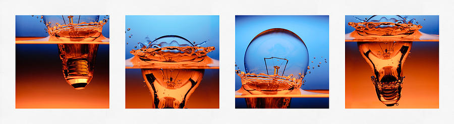 Art Photograph - Light Bulb Drop In To The Water by Setsiri Silapasuwanchai