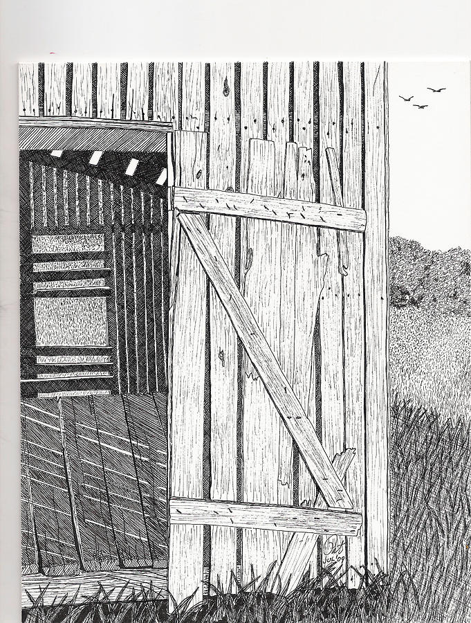 Pen And Ink Drawing - Light Filtering Through Shed by Pat Price