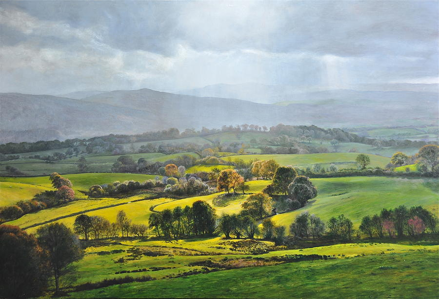 Wales Painting - Light In The Valley At Rhug. by Harry Robertson