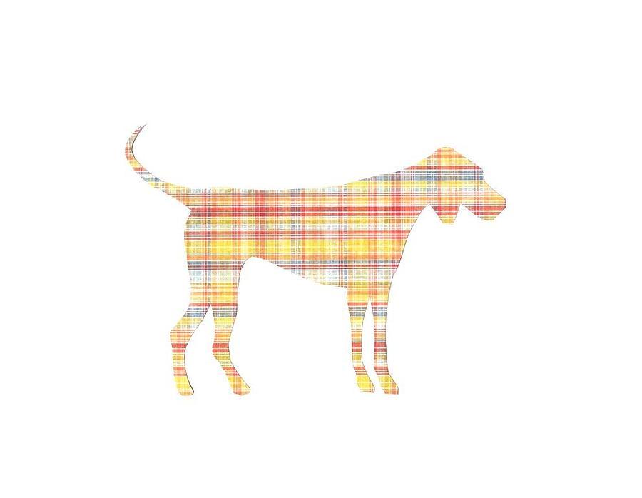 Pointer Dog Digital Art - Light Yellow Plaid Pointer Dog Silhouette by ...