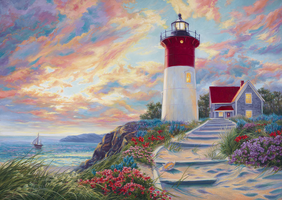 Lighthouse At Sunset Painting By Lucie Bilodeau