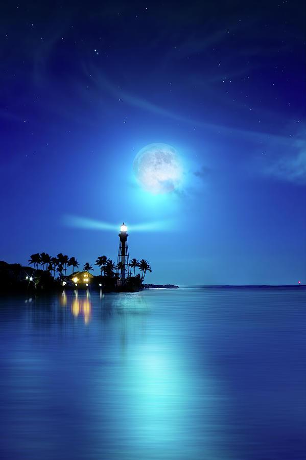 Lighthouse Moon Photograph