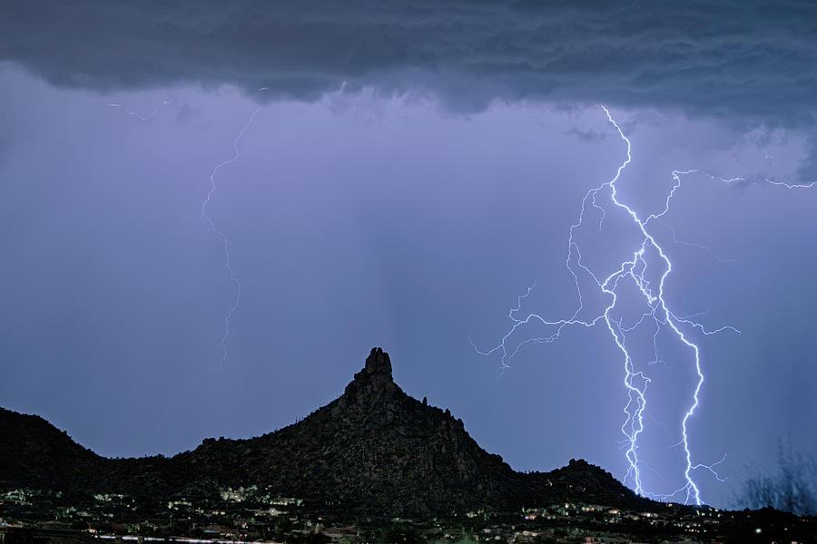 Lightning Bolts And Pinnacle Peak North Scottsdale Arizona Photograph