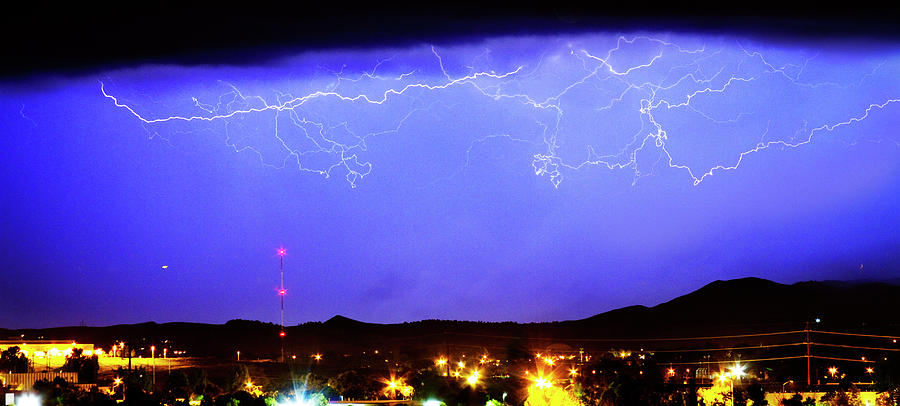 Lightning Over Loveland Colorado Foothills Panorama Photograph