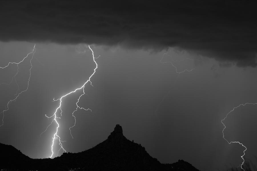Pinnacle Peak Lightning Photograph - Lightning Storm At Pinnacle Peak Scottsdale Az Bw by James BO  Insogna