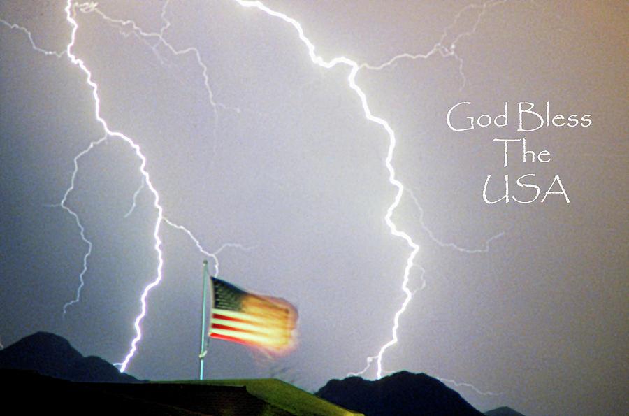 Lightning Photograph - Lightning Strikes God Bless The Usa by James BO  Insogna