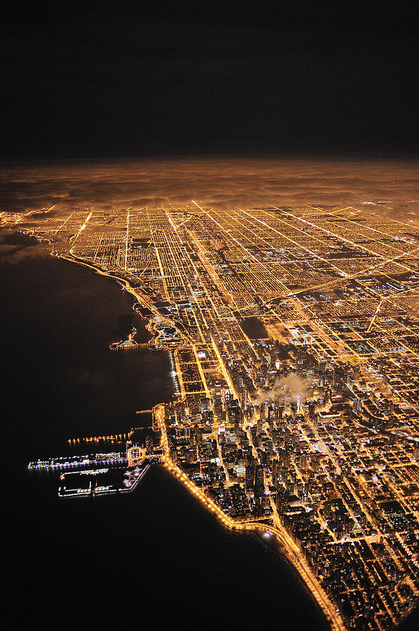 Outdoors Photograph - Lights Of Chicago Burn Brightly by Jim Richardson