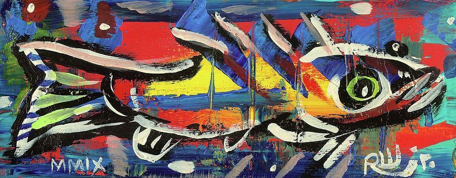 Rwjr Painting - Lil Funky Folk Fish Number Nine by Robert Wolverton Jr
