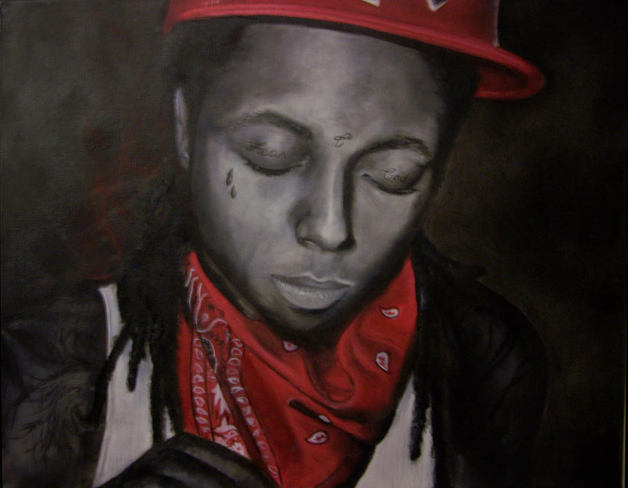 Black White Red Painting - Lil Wayne by Morgan Baudoin