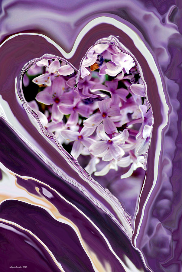 Lilac Heart Abstract For Haiti Digital Art