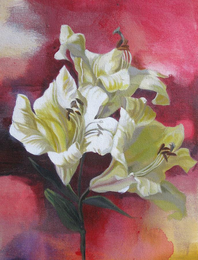Acrylic Painting - Lilies With Red by Alfred Ng