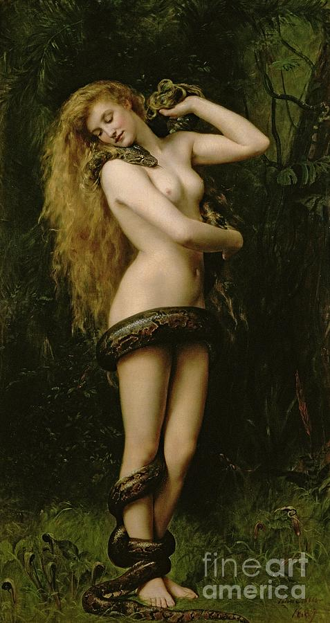 Nude; Female; Snake; Long Hair; Pre-raphaelite; Lilith Painting - Lilith by John Collier