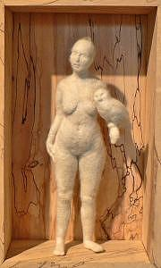 Felted Wool Nude Female Figure Fiber Sculpture Holding Owl In Wood Box Sculpture - Lilith by Robin Whiteman