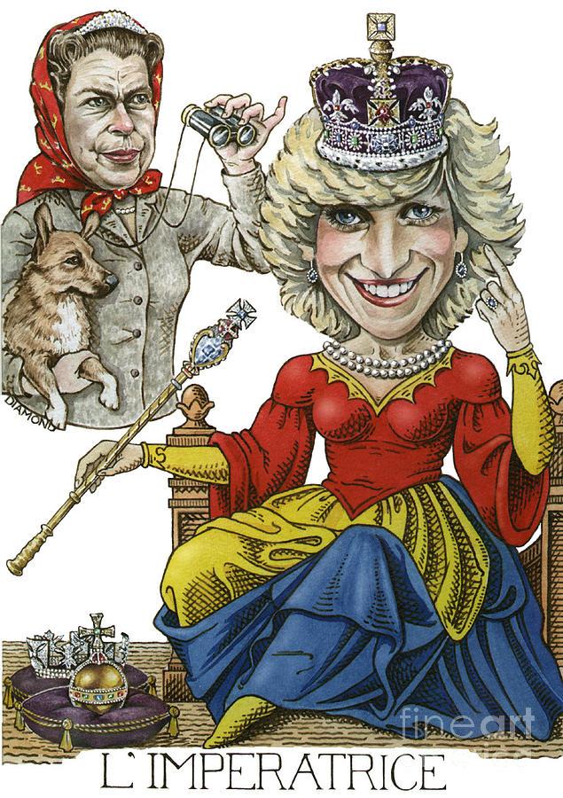 Royal Caricature/ Portrait. Princess Diana.caricature Artwork. Humorous Artwork. Queen Elizabeth.   Painting - Limperatrice by Debbie  Diamond