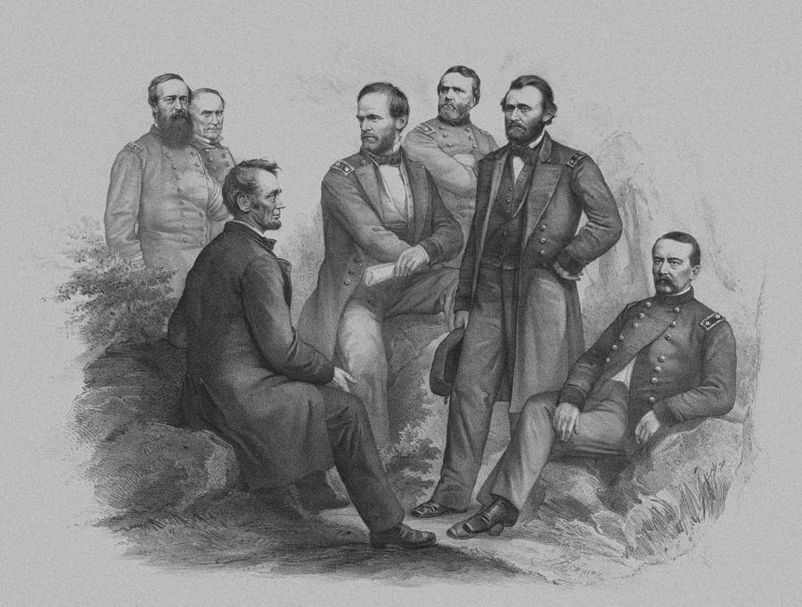 Civil War Drawing - Lincoln And His Generals by War Is Hell Store