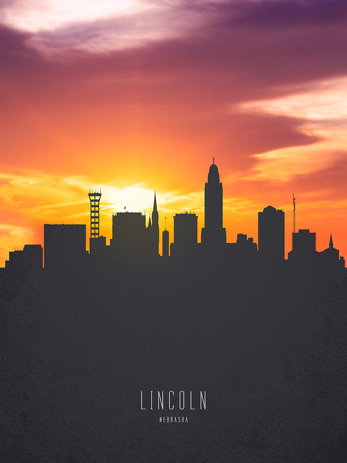Lincoln Nebraska Sunset Skyline 01 Painting By Aged Pixel