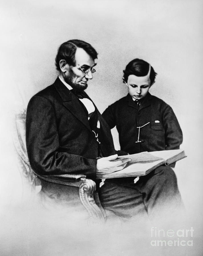 Lincoln Reading To His Son Photograph
