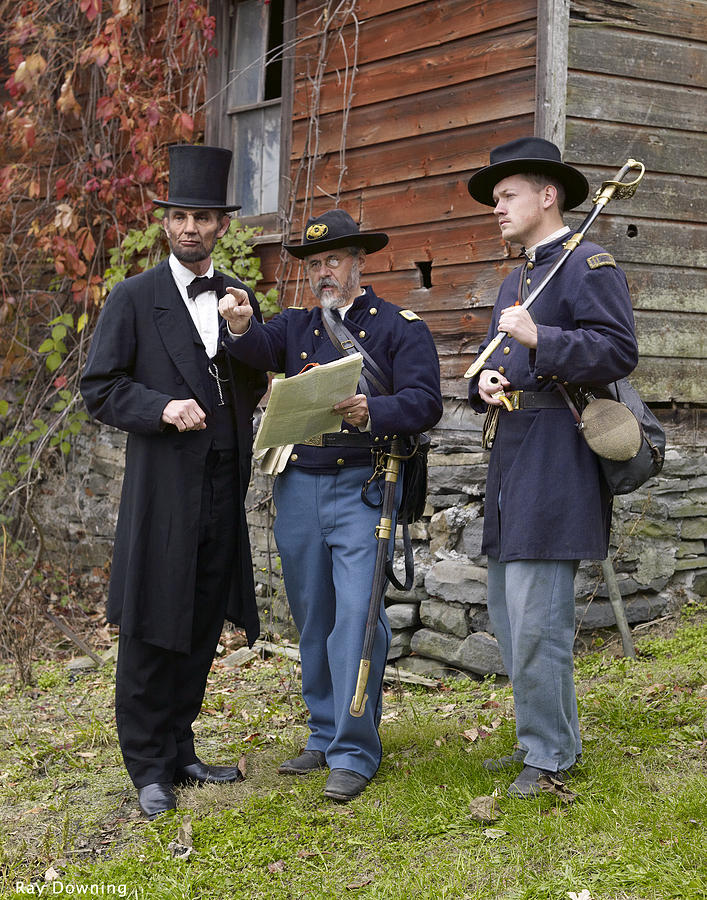 Abraham Lincoln Digital Art - Lincoln With Officers 2 by Ray Downing