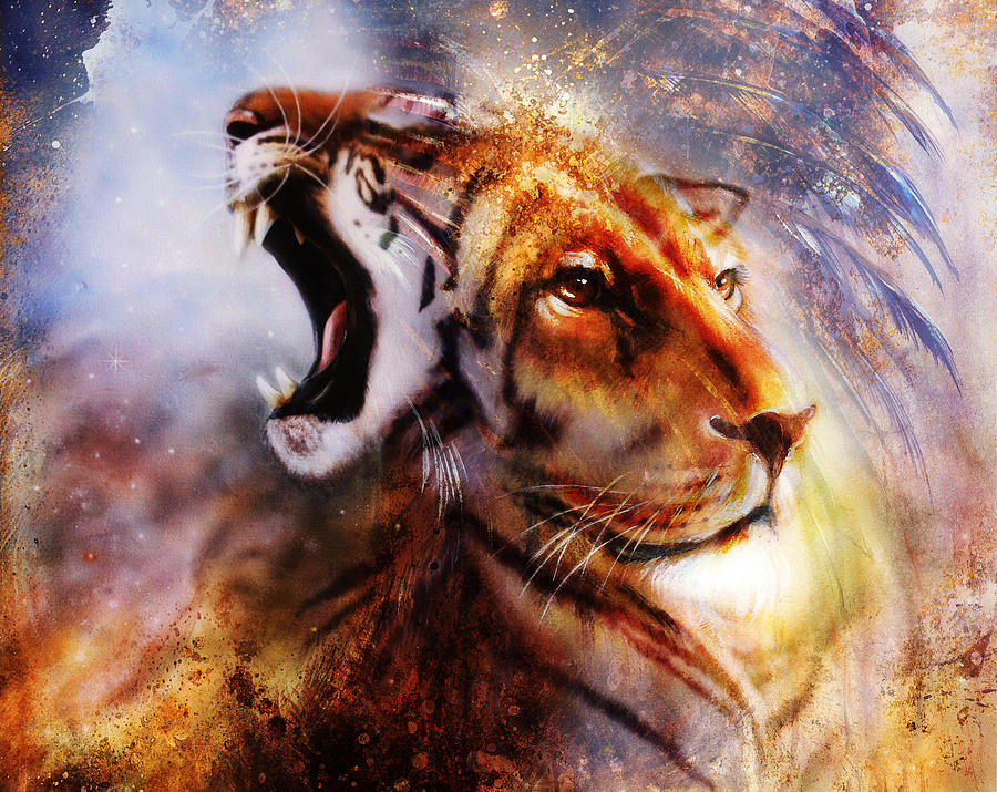 Lion And Tiger Face Profile Portrait, On Colorful Abstract ...