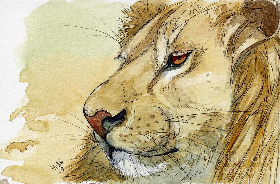 Lion Painting - Lion Inspiration  by Svetlana Ledneva-Schukina