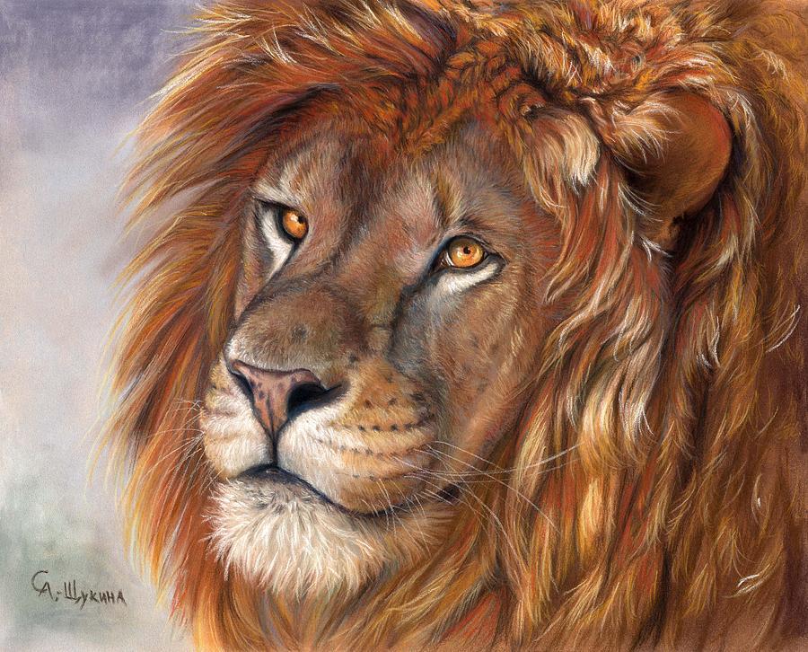 Lion Painting - Lion Portrait by Svetlana Ledneva-Schukina