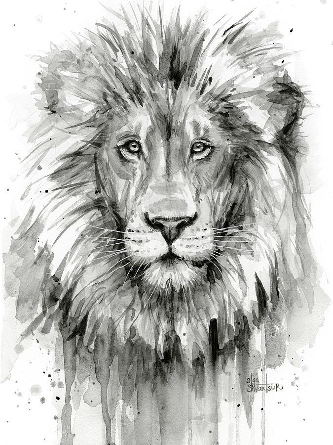 Lion Watercolor Painting by Olga Shvartsur