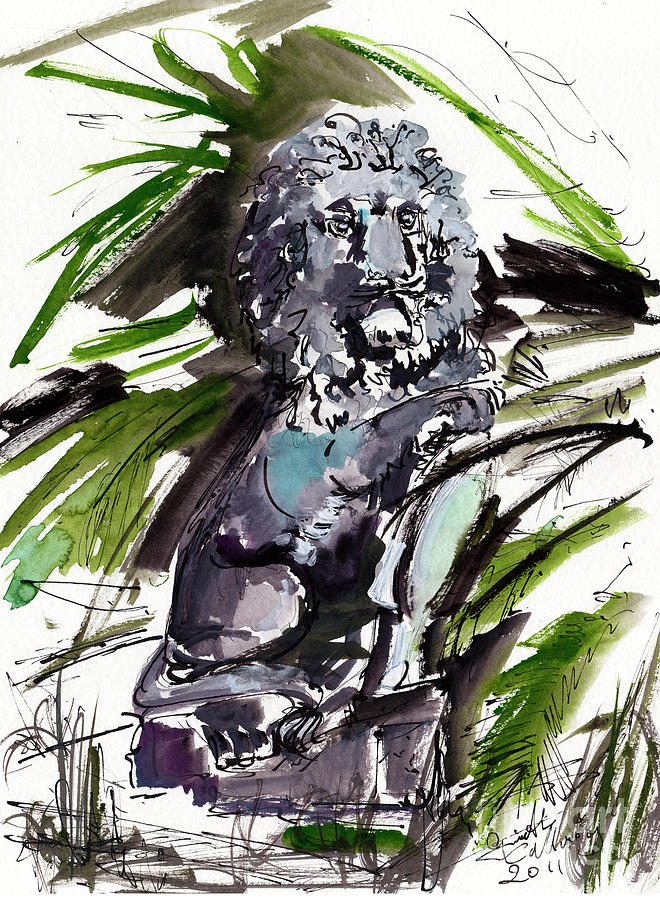 Statues Painting - Lions Staue Of Jekyll Island Georgia by Ginette Callaway