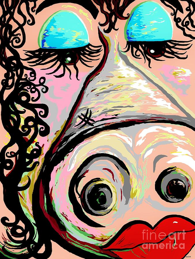 Pig Painting - Lipstick On A Pig by Eloise Schneider