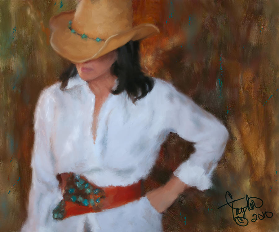 Cowgirl Painting - Liquid Turquoise by Colleen Taylor