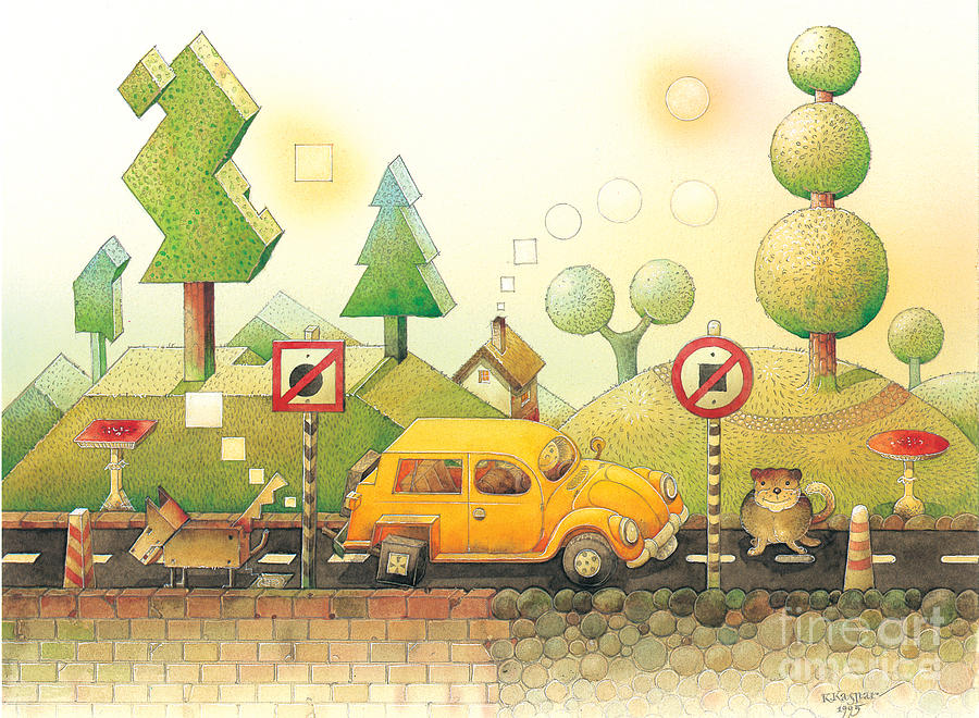 Car Dog Cat Tree Sun Landscape Green Yellow Painting - Lisas Journey02 by Kestutis Kasparavicius