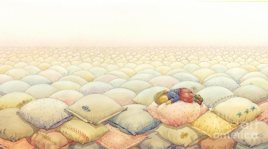 Sleep Dream Evening Landscape Pink Sky Cloud Painting - Lisas Journey03 by Kestutis Kasparavicius