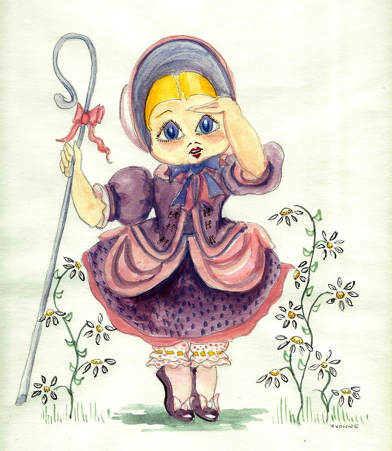 Little Bo Peep Painting by Yvonne Ayoub