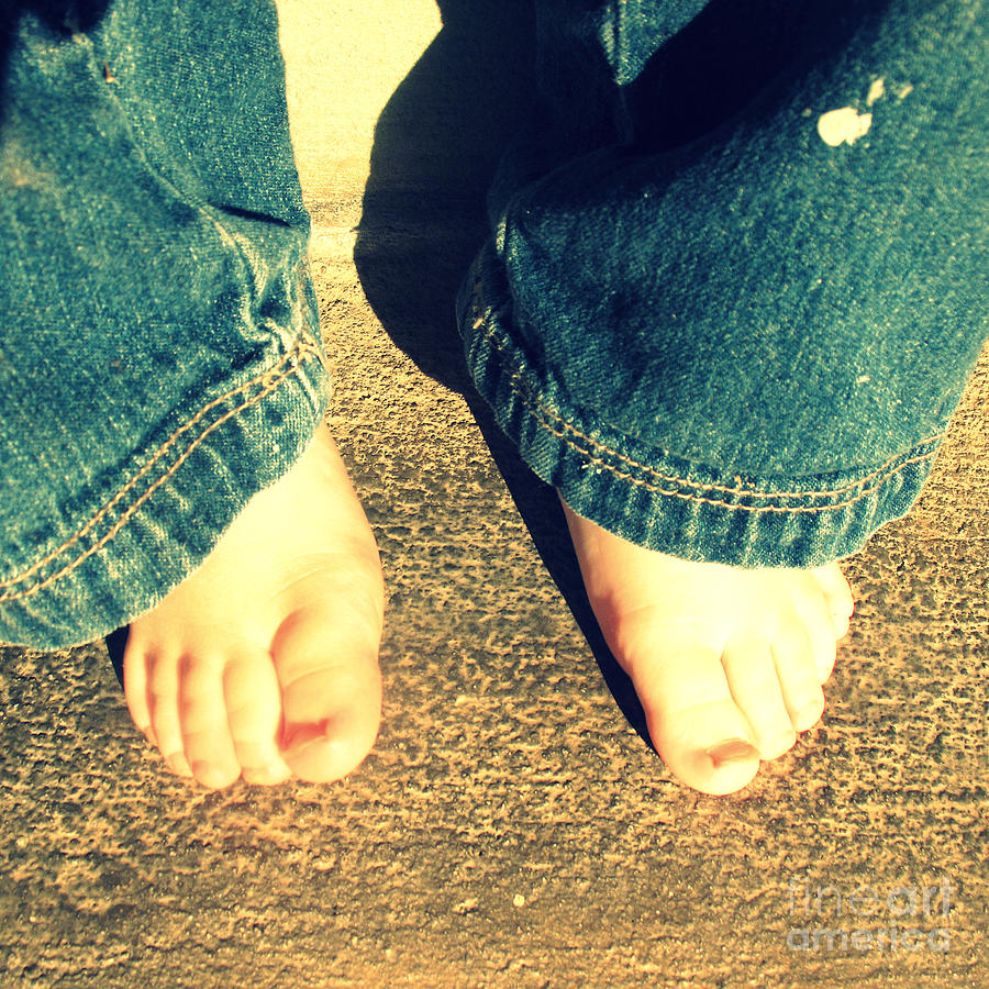 Jeans Photograph - Little Boys Bare Feet by Trude Janssen