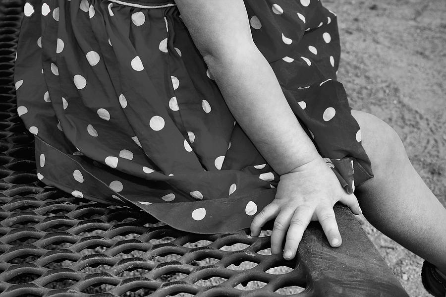 Hand Photograph - Little Girl Hand Polka Dot Dress by Tracie Kaska