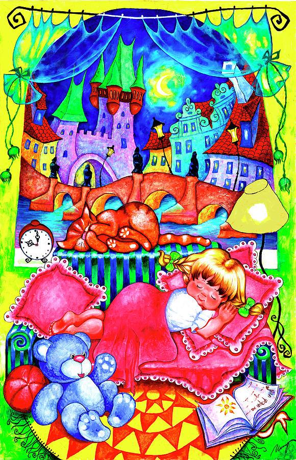 Night Painting - Little Katya by Inga Konstantinidou