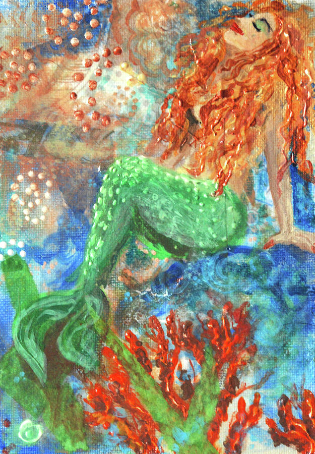Acrylic Paint Mixed Media - Little Mermaid by Jennifer Kelly