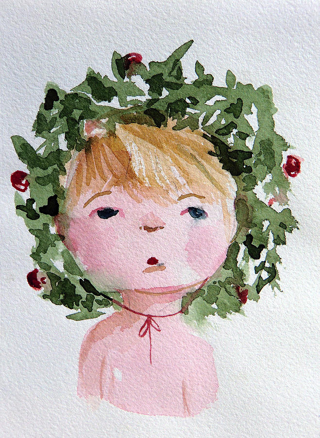 Christmas Painting - Little Miss Merry by Mindy Newman
