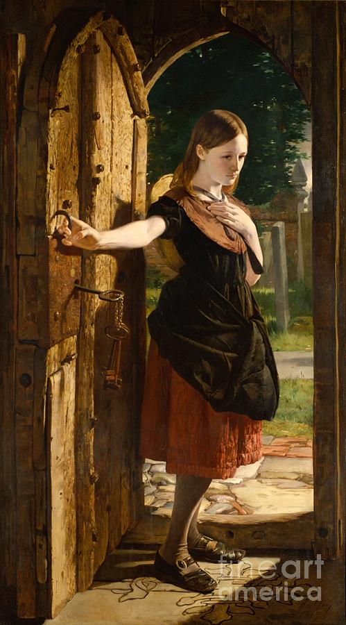Little Painting - Little Nell Leaving The Church by James Lobley