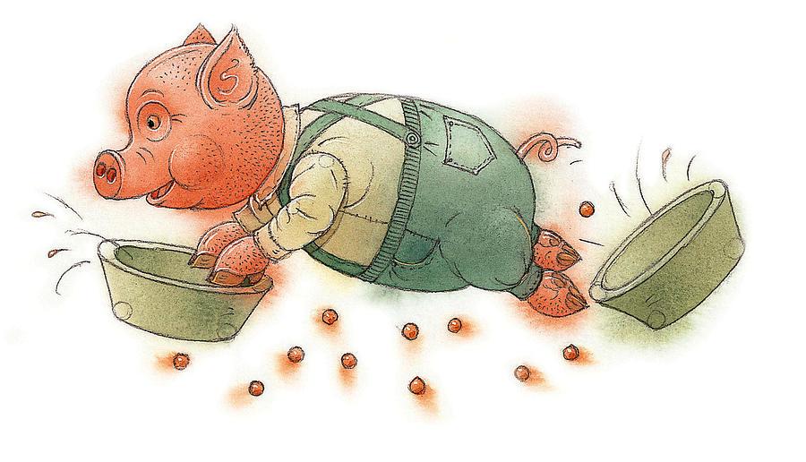 Pig Food Kitchen Dinner Children Painting - Little Pig by Kestutis Kasparavicius