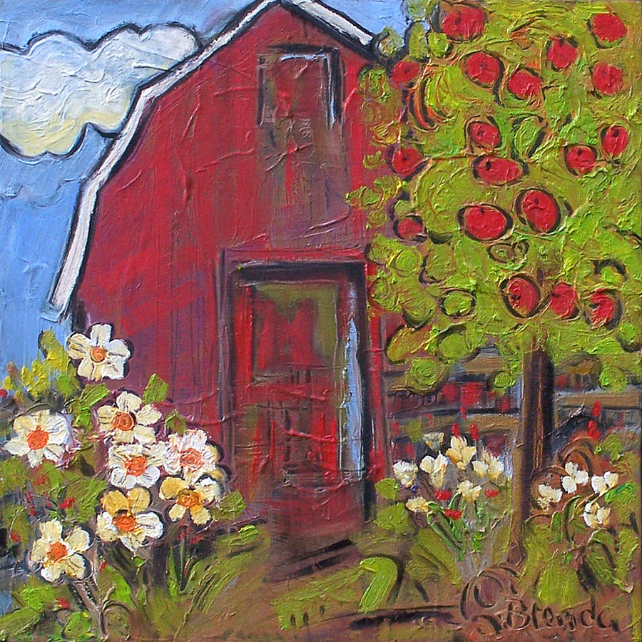 Art Painting - Little Red Barn by Blenda Studio